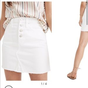 Madewell Rigid A-Line White Denim Skirt